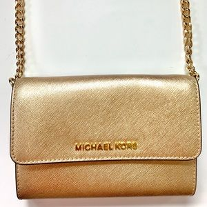 Michael Kors Small Gold Metallic Crossbody Purse